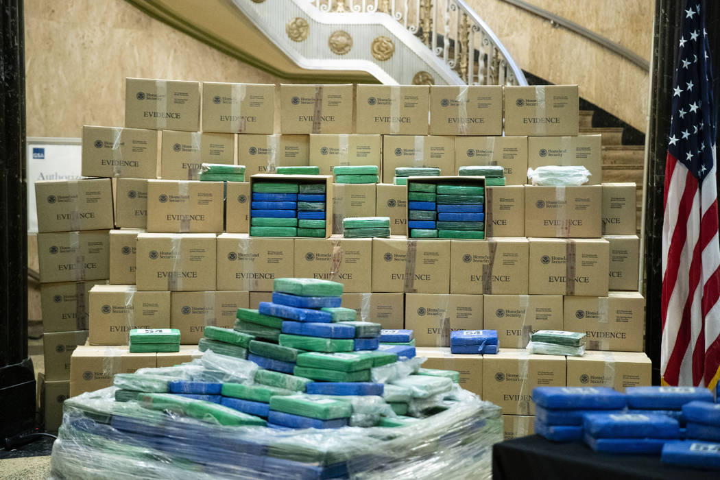 A fraction of the cocaine seized from a ship at a Philadelphia port is displayed ahead of a new ...