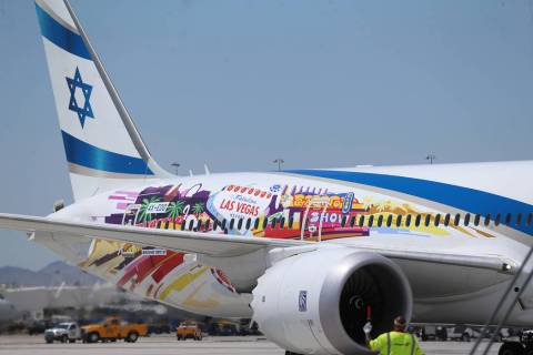 An El Al Israel Airlines flight from Tel Aviv, Israel, lands at McCarran International Airport ...
