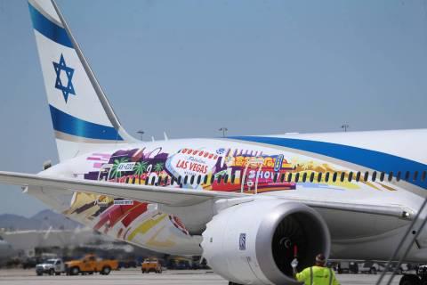 An El Al Israel Airlines flight from Tel Aviv, Israel, lands at McCarran International Airport ...