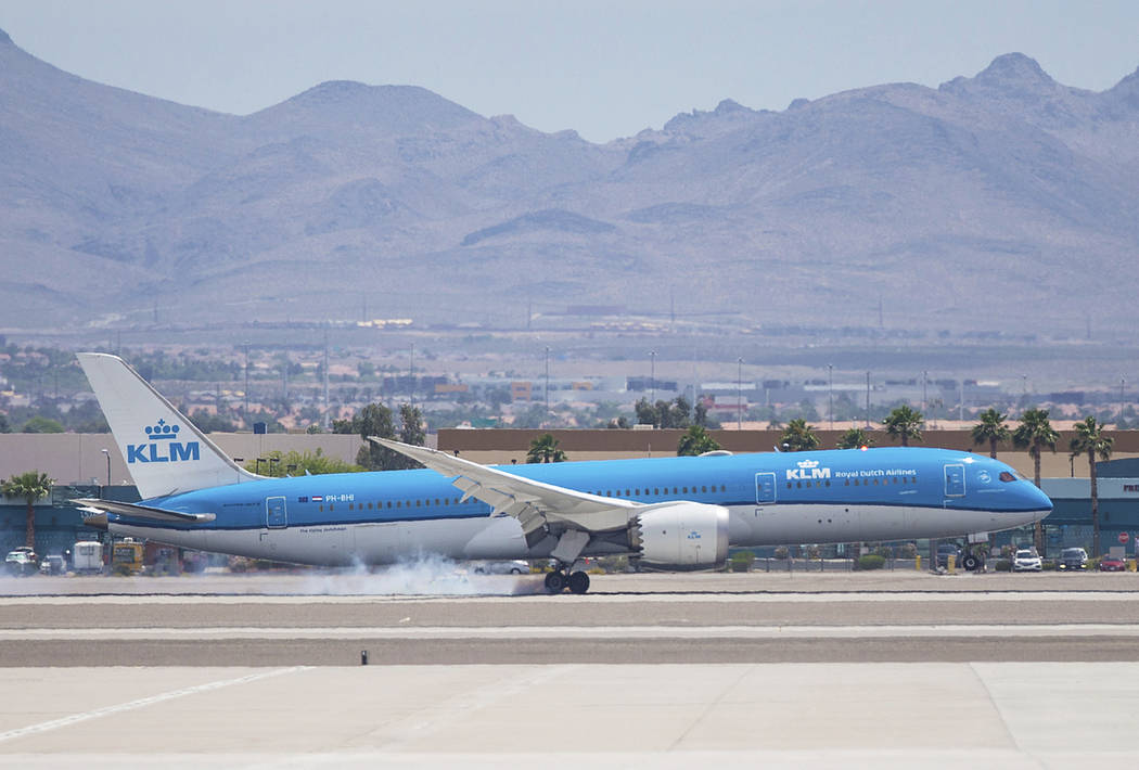 KLM Royal Dutch Airlines flight 635 lands at McCarran International Airport on Thursday, June 6 ...