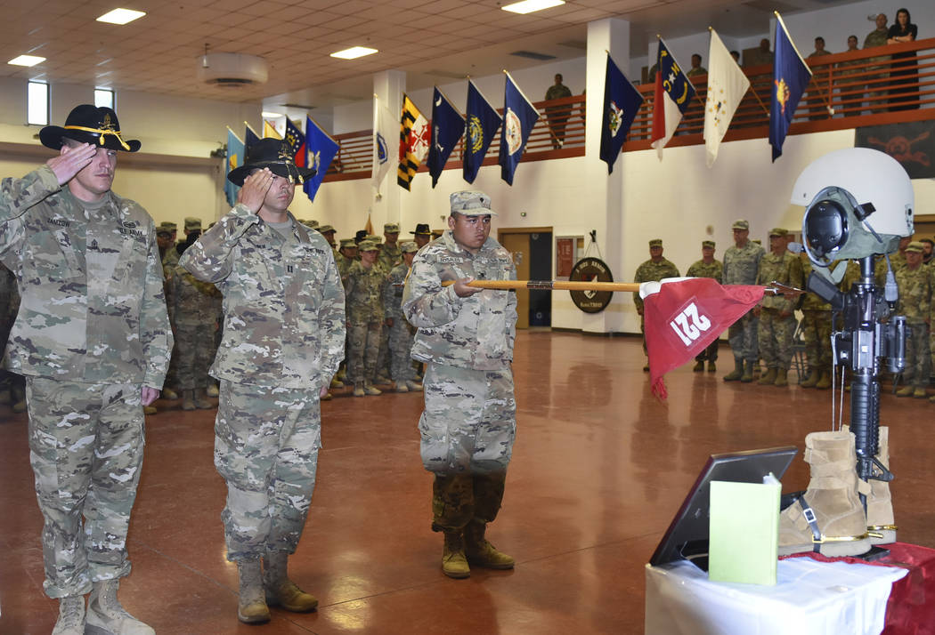 Soldiers from the Nevada Army Guard's 1st Squadron 221st Cavalry pay their final respects to S ...