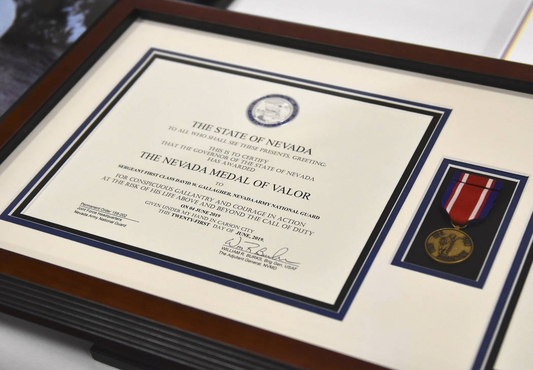 Sgt. 1st Class David W. Gallagher was posthumously awarded the Nevada Medal of Valor during a c ...