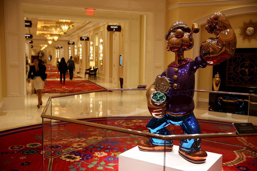 Jeff Koons' Popeye statue near meeting rooms at Encore Boston Harbor in Everett, Massachusetts ...