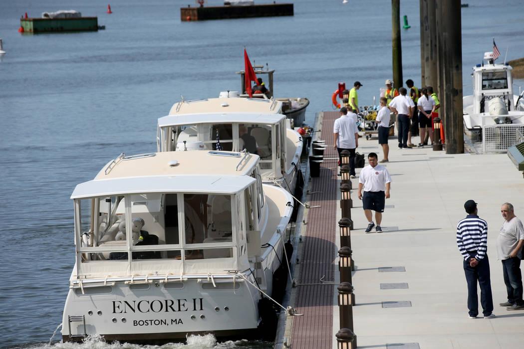 Luxury harbor shuttles on the Mystic River at Encore Boston Harbor in Everett, Mass., Saturday, ...
