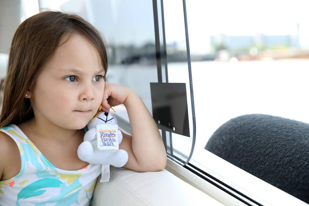 Lucia Levonas, 4, of Elmwood Park, N.J., in a luxury harbor shuttle on the Mystic River near En ...