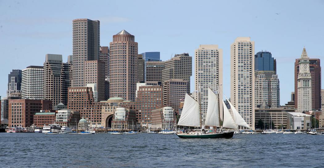 The Boston skyline is seen from a luxury harbor shuttle from Encore Boston Harbor in Everett, M ...