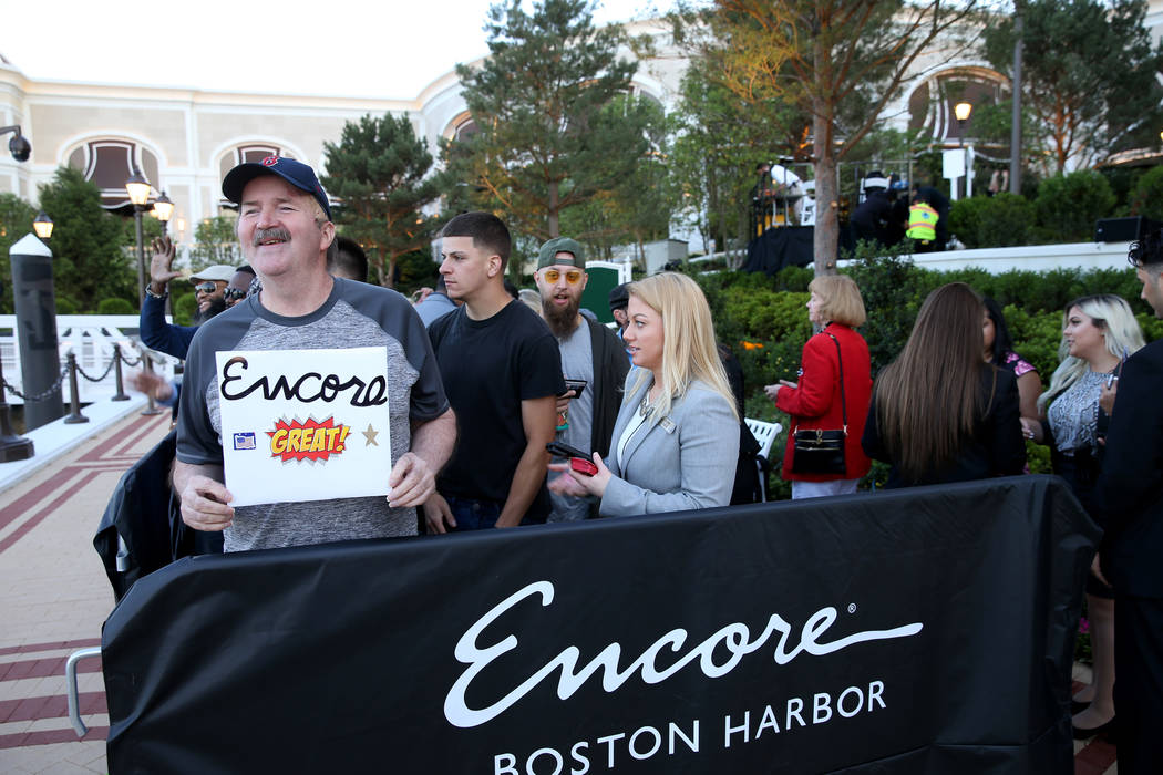 Glenn Reynolds, 65, of Quincy, Mass. is first in line for the opening of the $2.6 billion Encor ...