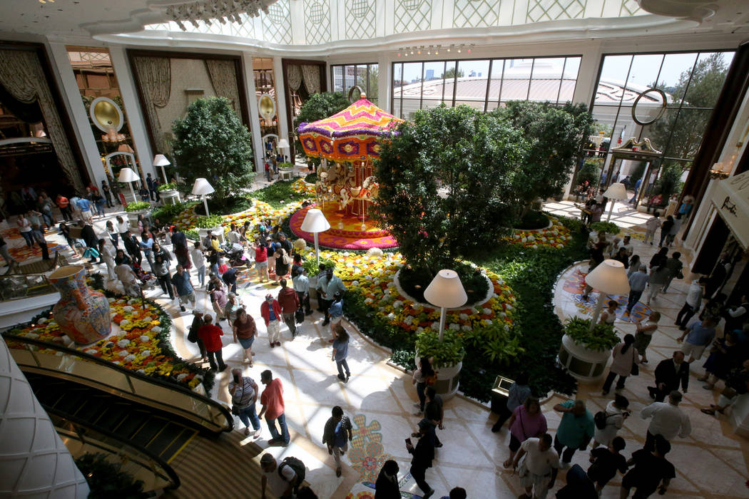 Guests check out the Garden Lobby during the opening of the $2.6 billion Encore Boston Harbor i ...