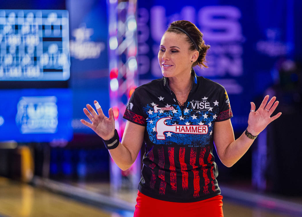 Shannon Sellens greets the fans as her playoff round ends losing to Liz Kuhlkin during the U.S. ...