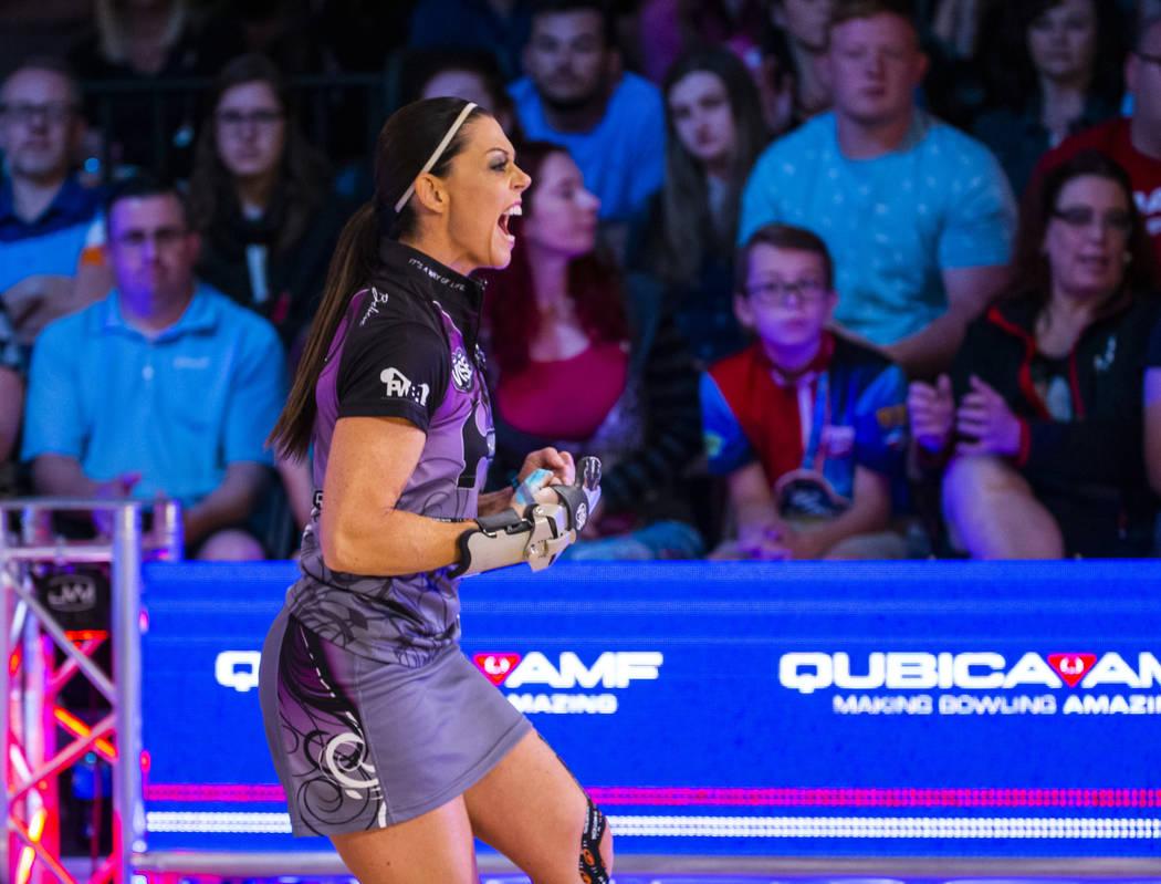 Shannon OÕKeefe bowls another strike in her semifinals match versus Danielle McEwan during ...