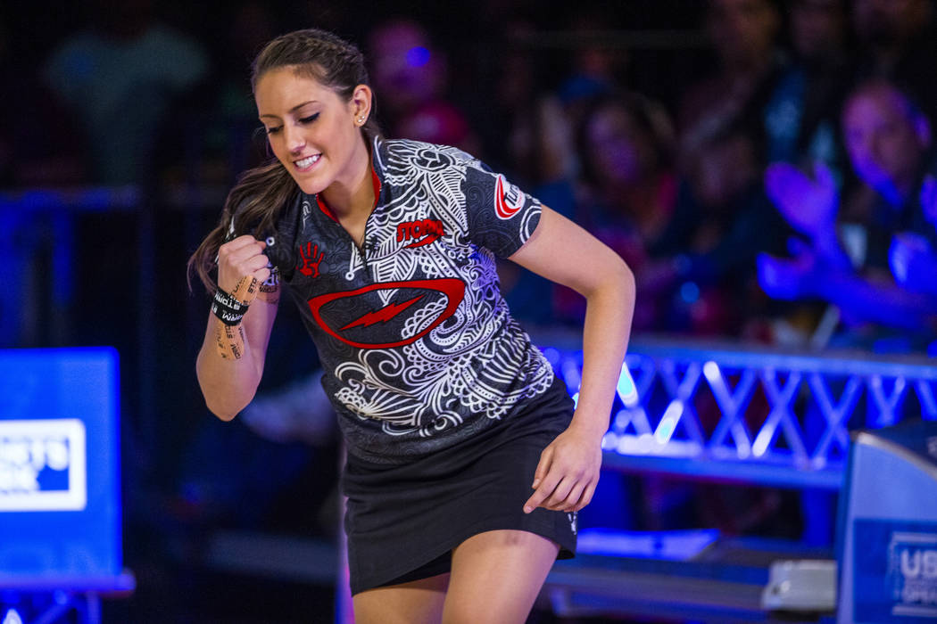 Danielle McEwan is pumped by an another strike in her finals match versus Tanya Roumimper durin ...