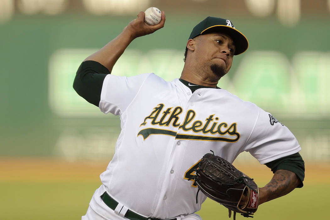 Oakland Athletics pitcher Frankie Montas works against the Tampa Bay Rays during the first inni ...
