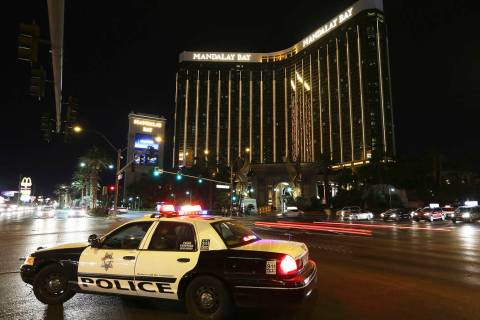 Mandalay Bay is seen Oct. 1, 2018, the 1-year anniversary of the Las Vegas shooting. (Erik Verd ...