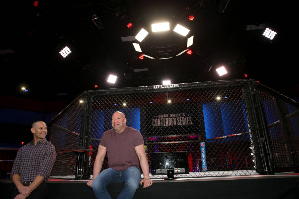 Ultimate Fighting Championship President Dana White, right, and Craig Borsari, UFC executive vi ...