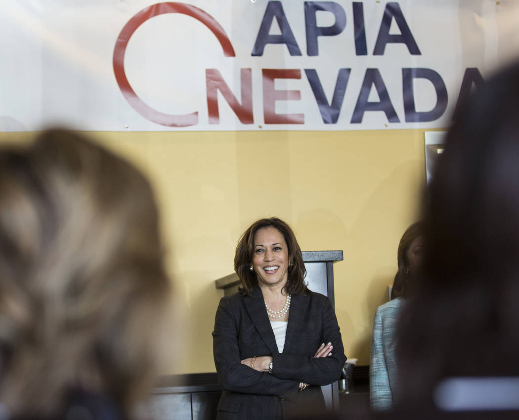 Presidential candidate Sen. Kamala Harris, D-Calif., waits to speak during a meet and greet wit ...