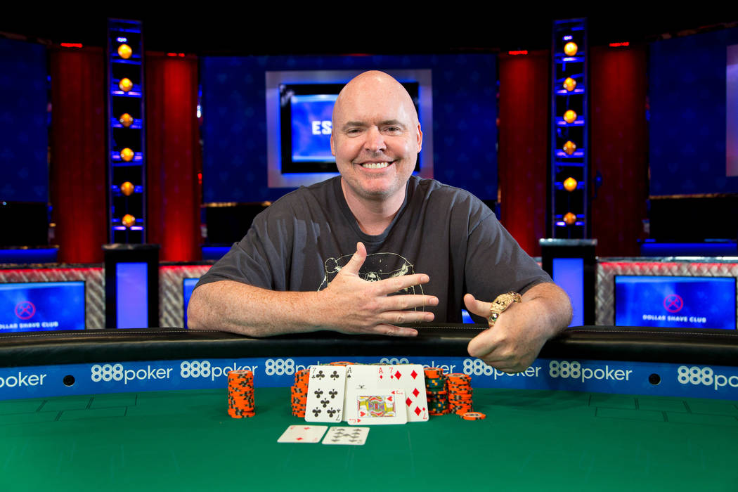 John Hennigan celebrates after winning the $10,000 buy-in Seven Card Stud event at the Rio Conv ...
