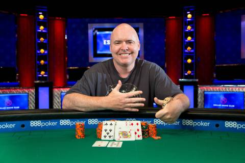 John Hennigan celebrates after winning the $10,000 buy-in Seven Card Stud event Wednesday, June ...