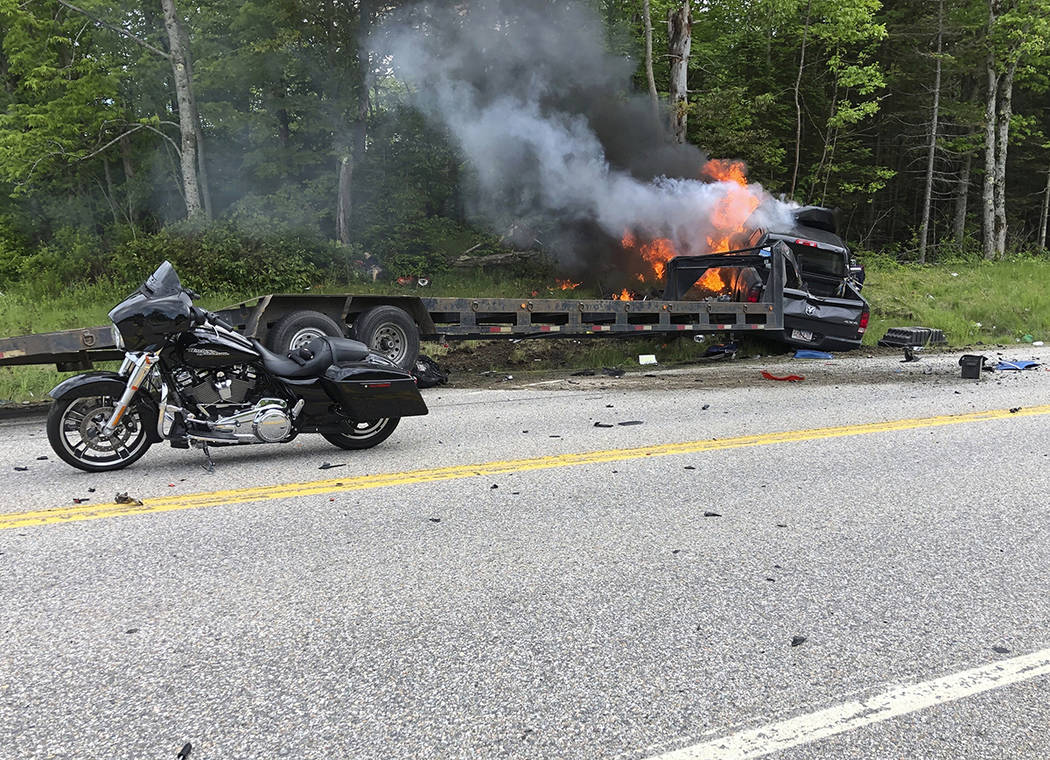This photo provided by Miranda Thompson shows the scene where several motorcycles and a pickup ...