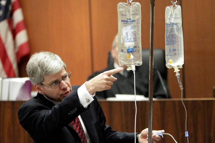 In this Thursday, Oct. 20, 2011 file photo, anesthesiology expert Dr. Steven Shafer demonstrate ...