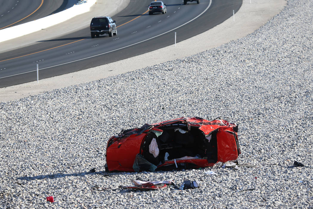 A car crash on the 215 Beltway near Lone Mountain Road in Las Vegas, Saturday, June 22, 2019. ( ...