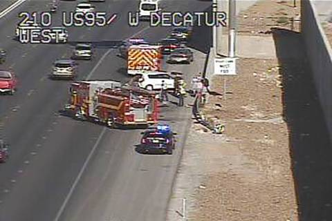 Crash on U.S. Highway 95 near Decatur. (Twitter/@LasVegasFD)