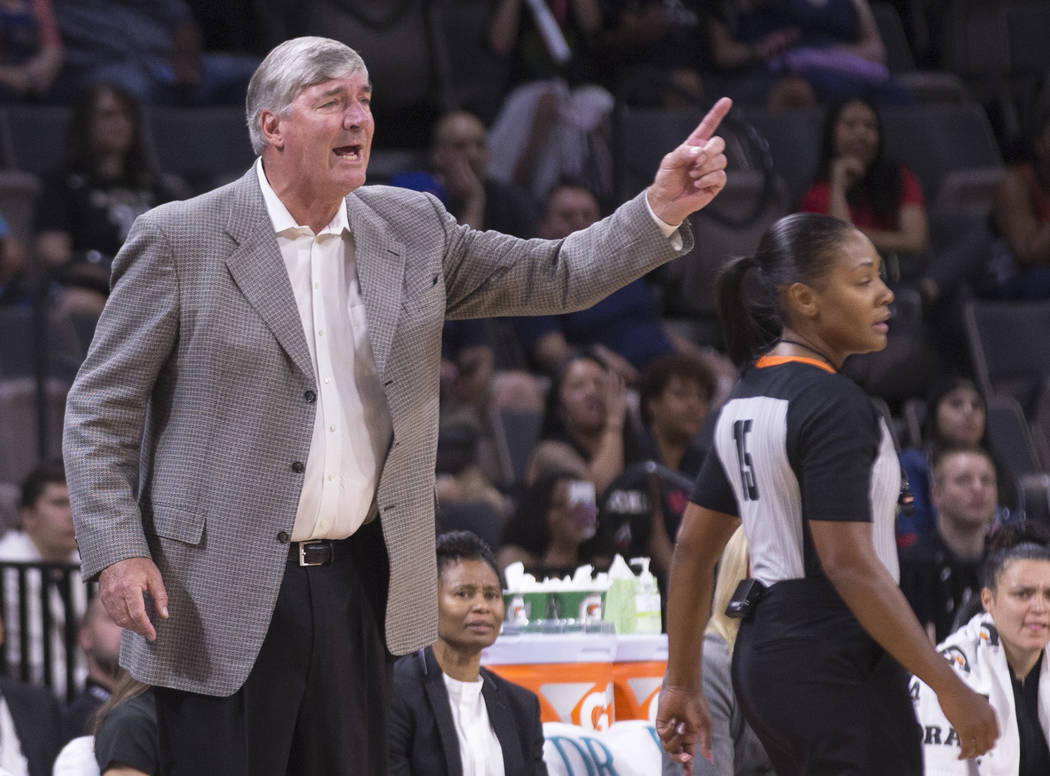 Las Vegas Aces head coach Bill Laimbeer makes a defensive call in the second quarter during Veg ...