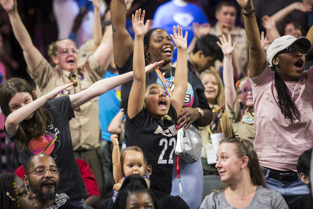 Fans cheer for the Aces in the fourth quarter during their WNBA game with the Dallas Wings on S ...