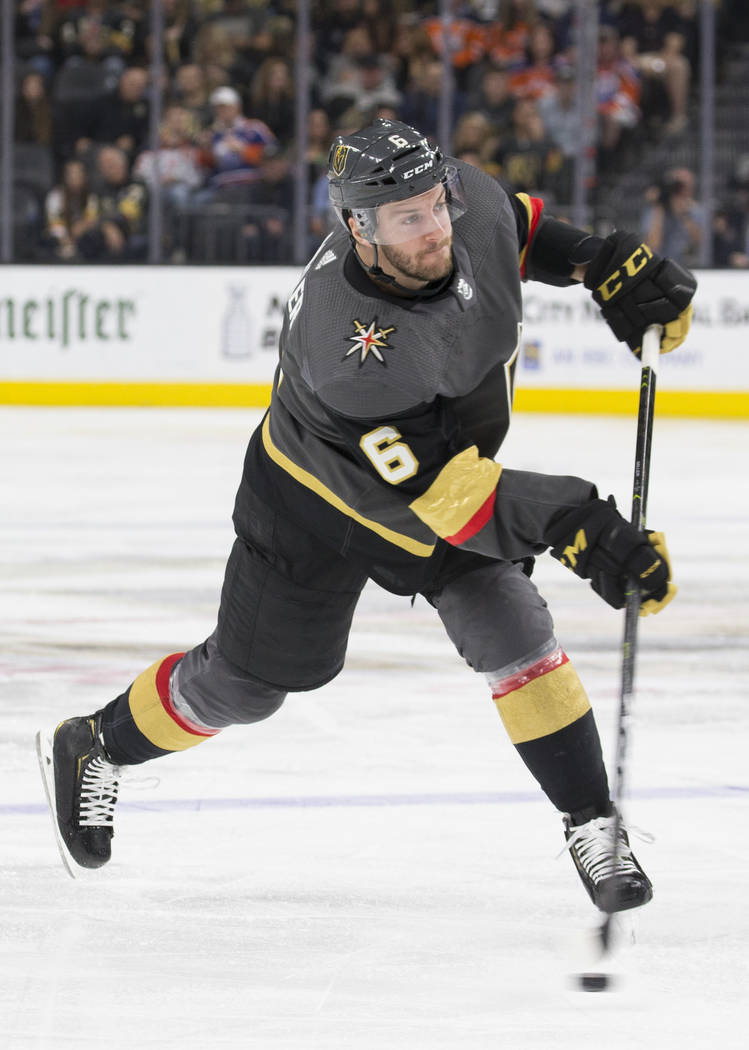 Golden Knights defenseman Colin Miller (6) on Friday, March 29, 2019, at T-Mobile Arena, in Las ...