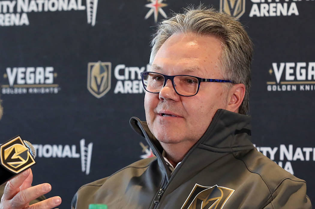 Golden Knights General Manager Kelly McCrimmon (Bizuayehu Tesfaye/Las Vegas Review-Journal)