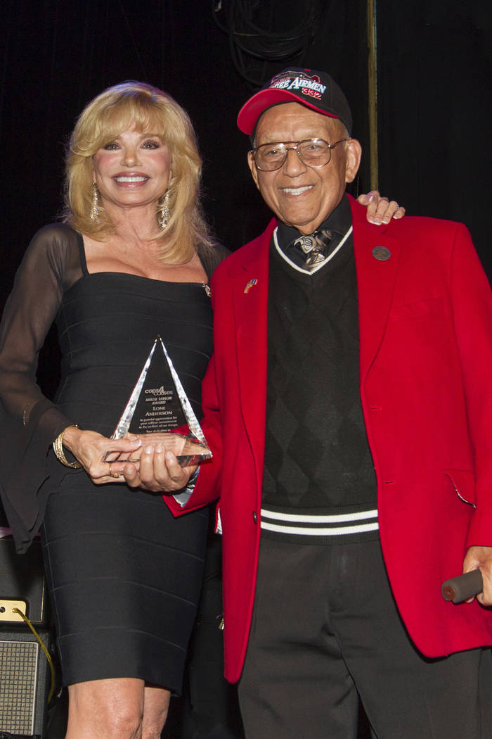 FILE - In this Sept. 11, 2013 file photo, actress Loni Anderson, left, receives the Millie Tayl ...