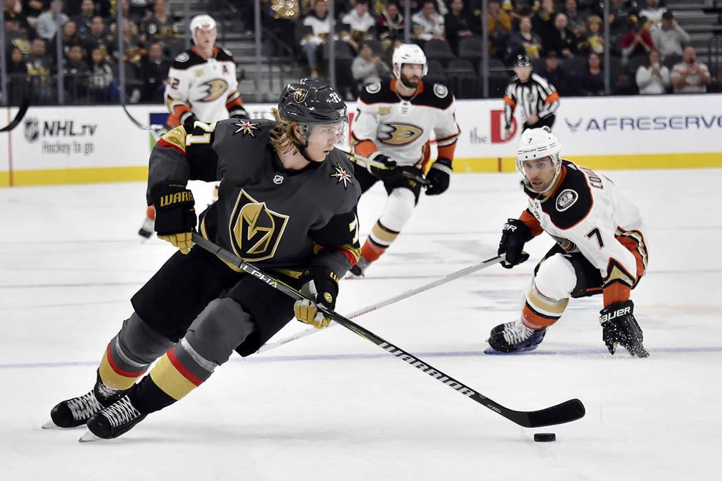 Vegas Golden Knights center William Karlsson (71) skates with the puck against the Anaheim Duck ...