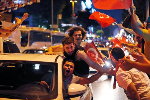 Supporters of Ekrem Imamoglu, the candidate of the secular opposition Republican People's Party ...
