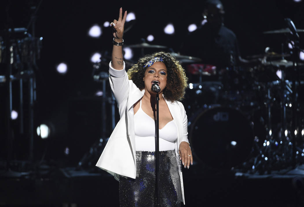 Marsha Ambrosius performs during a tribute to late rapper Nipsey Hussle at the BET Awards on Su ...