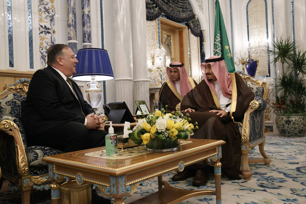 U.S. Secretary of State Mike Pompeo, left, meets with King Salman, right, at Al Salam Palace in ...