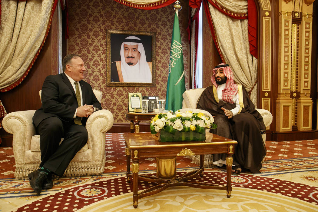 Secretary of State Mike Pompeo meets with Saudi Arabia's Crown Prince Mohammed bin Salman, righ ...