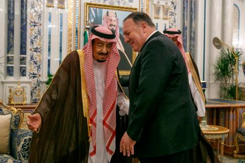 U.S. Secretary of State Mike Pompeo, right, meets with King Salman at Al Salam Palace in Jeddah ...