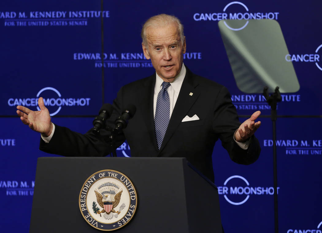 FILE - In this Oct. 18, 2016 file photo, Vice President Joe Biden speaks at the Edward M. Kenne ...