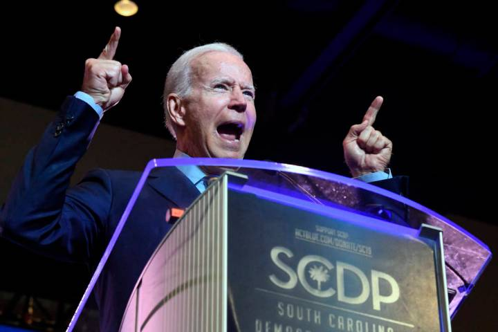 Former Vice President Joe Biden addresses the South Carolina Democratic Party convention, Satur ...