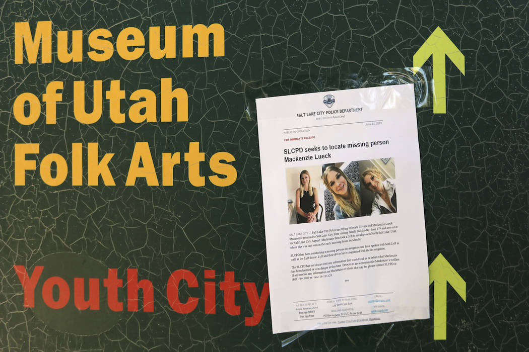 A poster of MacKenzie Lueck is shown in Liberty Park Monday, June 24, 2019, in Salt Lake City. ...