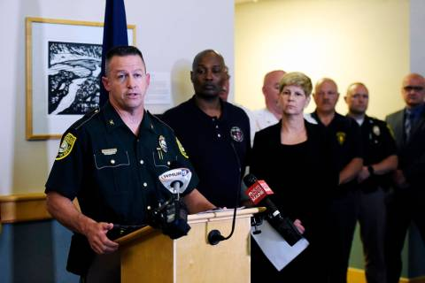 New Hampshire State Police Col. Chris Wagner addresses the media during a news conference, Satu ...