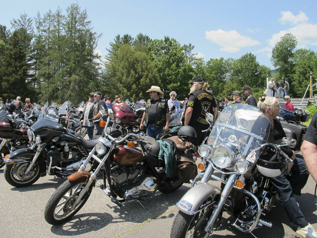 Motorcyclists attend the Blessing of the Bikes ceremony in Columbia, N.H. on Sunday, June 23, 2 ...