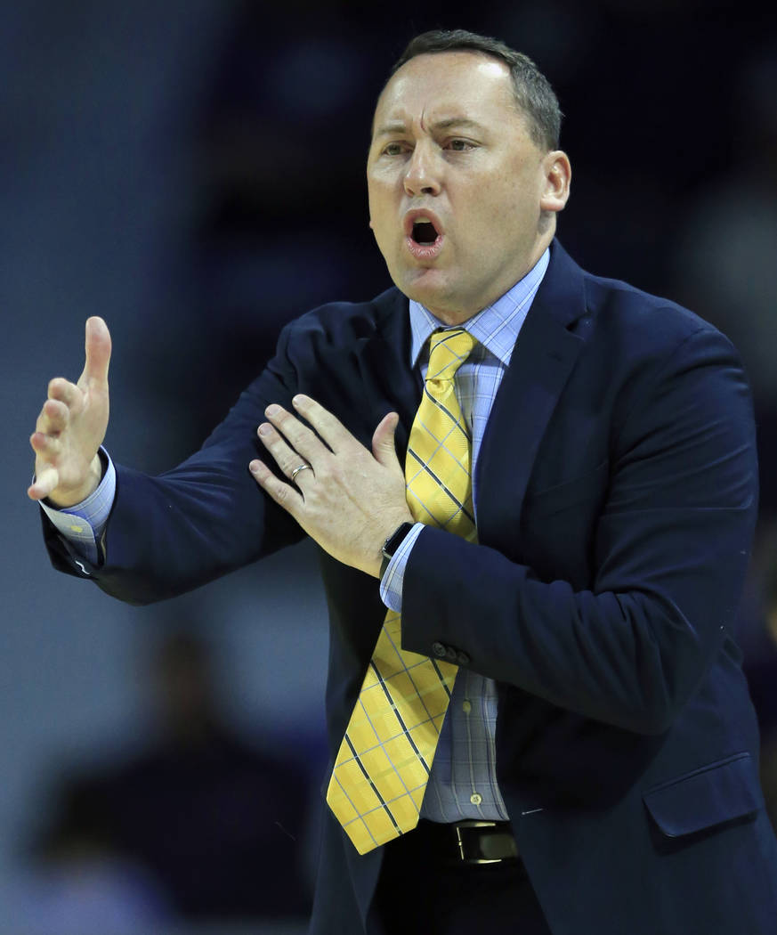 FILE - In this Nov. 20, 2017, file photo, Northern Arizona head coach Jack Murphy directs his t ...