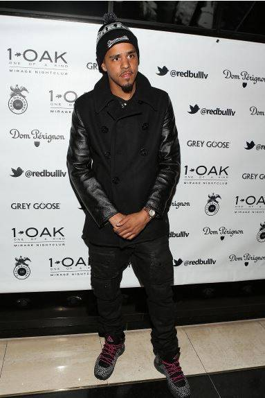 J. Cole arrives at 1 OAK at The Mirage on Dec. 31, 2013, in Las Vegas. (Jesse Grant/WireImage)