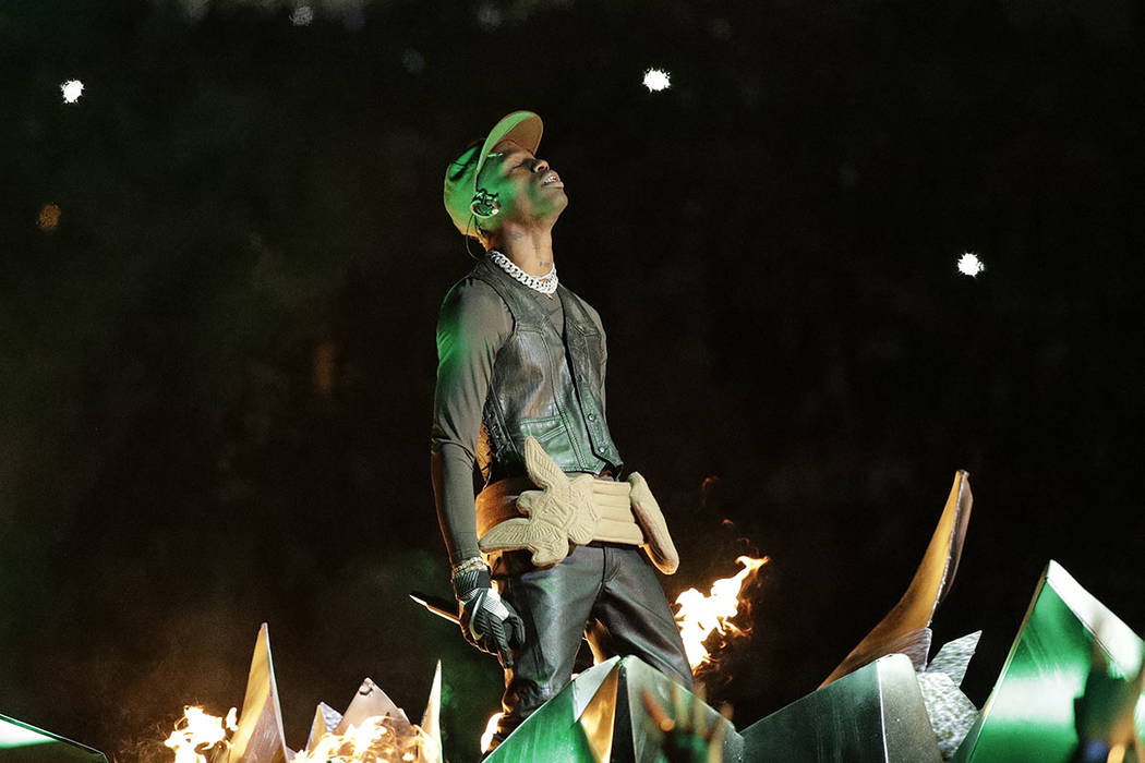 Travis Scott performs during halftime of the NFL Super Bowl 53 football game between the Los An ...