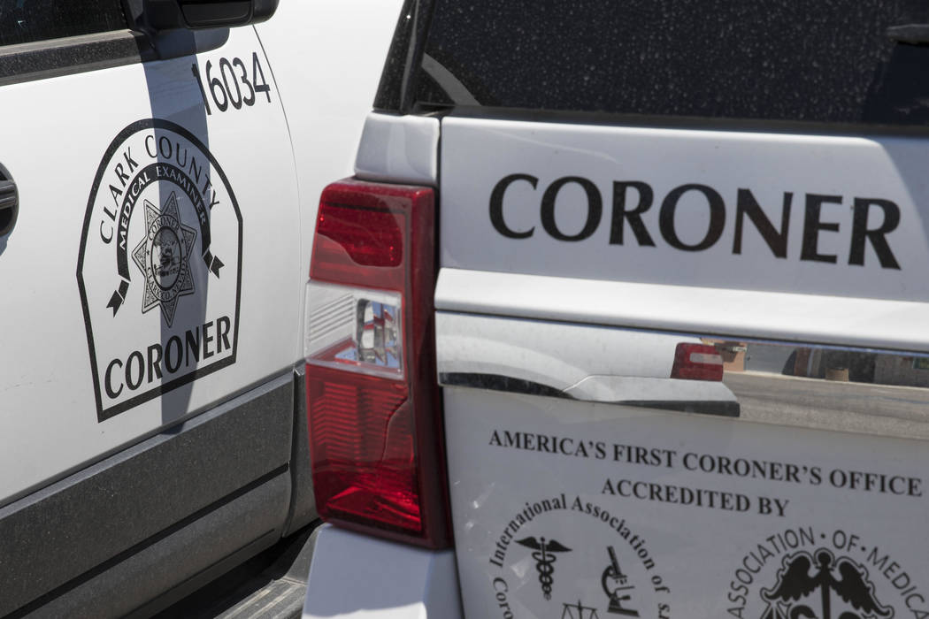 Clark County Coroner and Medical Examiner vehicles parked at their headquarters located at 1704 ...