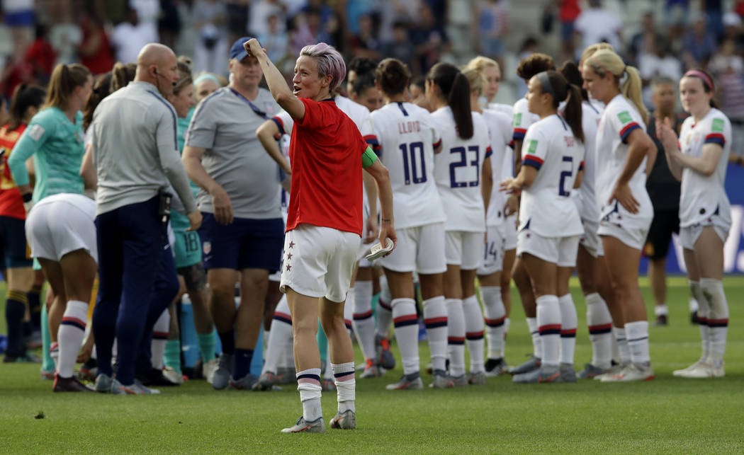 United States'Megan Rapinoe, front, celebrates at the end of the Women's World Cup round of 16 ...