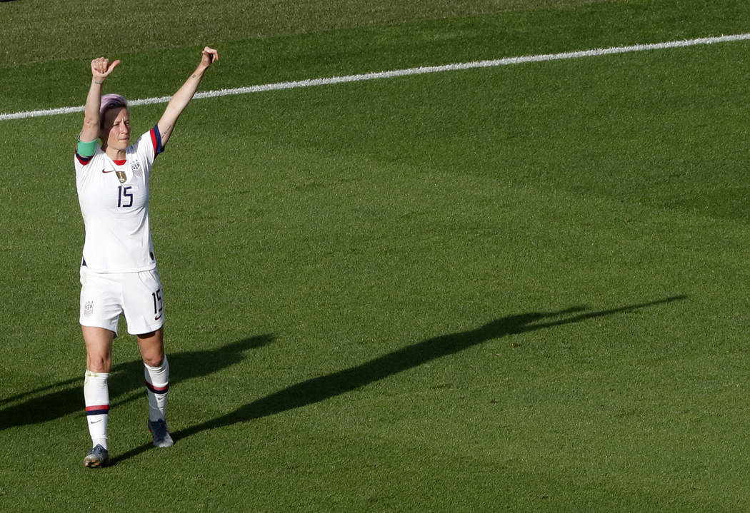 United States' Megan Rapinoe celebrates after scoring her side's second goal from the penalty s ...