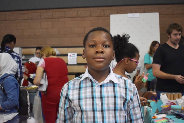 Mkangya Etonde, 12, at the World Refugee event on Thursday, May 20. (Rachel Spacek Las Vegas Re ...
