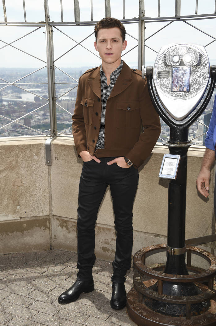 """Actor Tom Holland from the film """"Spider-Man: Far From Home"""" poses for the media on the 86th flo ..."""