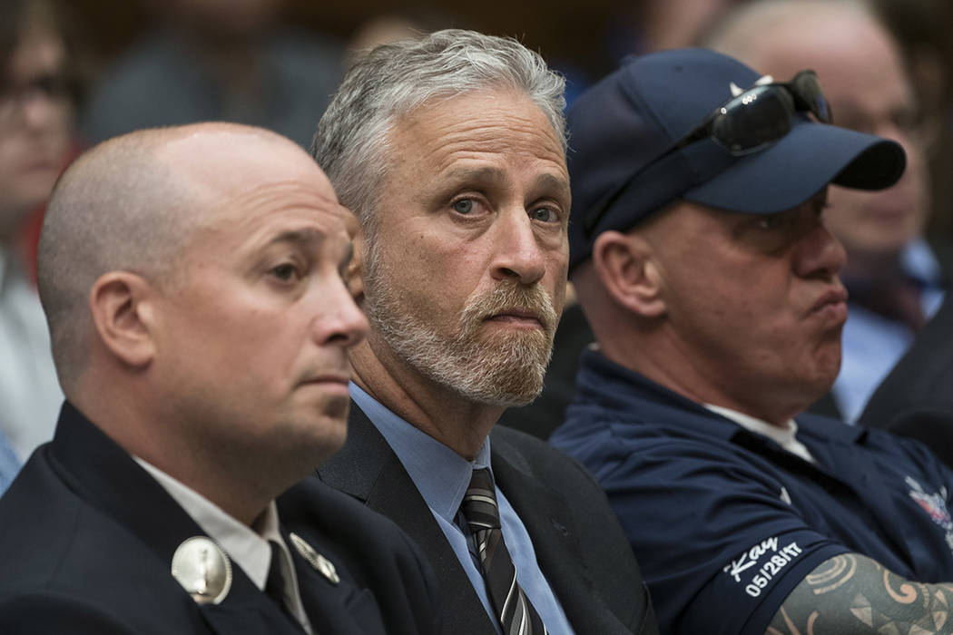 Entertainer and activist Jon Stewart lends his support to firefighters, first responders and su ...